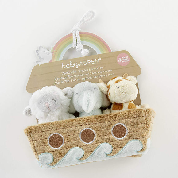 Baby Aspen, Noah'S Ark 4-Piece Rattle Gift Set, Baby Rattles, Keepsake Toys, Nursery Decoration