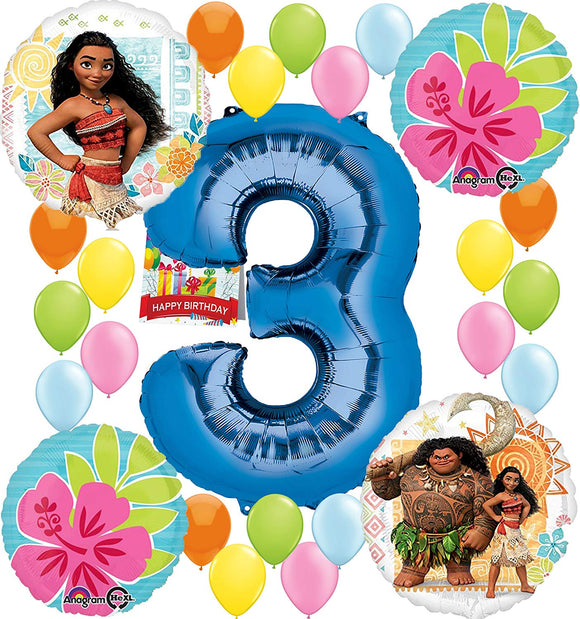 Moana Party Supplies Birthday Decorations Number Balloon Bundle For (3Rd Birthday)