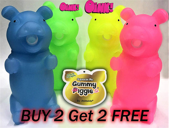 Animolds Bundle Four Glow In The Dark Squeeze Me And Oink Piggie Sitting Size 8 Inch Soft Touch For Girls Boys Toddlers (Party 4 Pack)