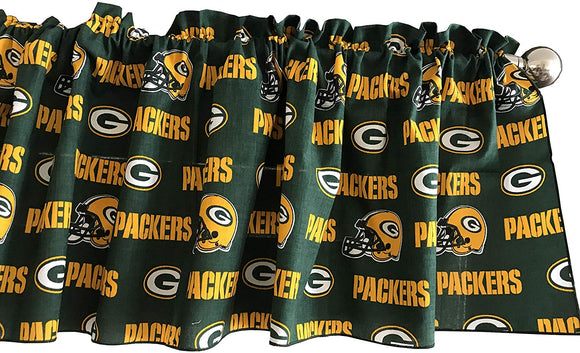 100% Cotton Nfl Sports Team Green Bay Packers Green Multi-Print Window Valance Panel/Kids Nursery Window Treatment Decor (14