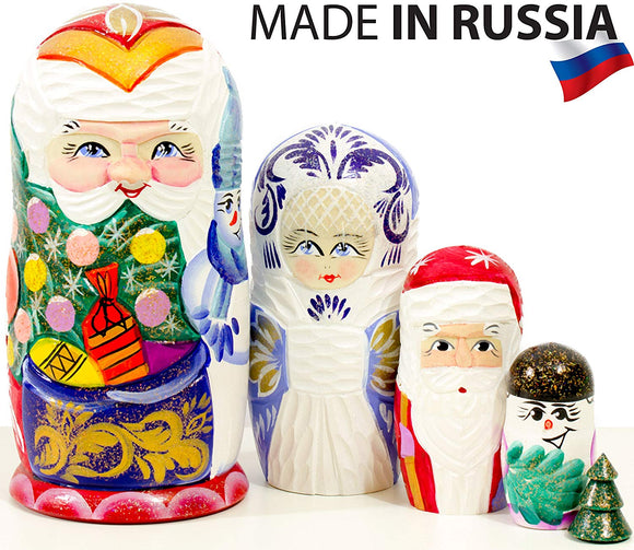 Russian Nesting Doll - Snow Queen - Hand Painted In Russia - Medium Size - Traditional Matryoshka Babushka (6.75`` (5 Dolls In 1), Blue) (6.75`` (5 Dolls In 1), Santa With Gifts)