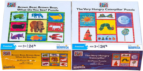 Eric Carle Brown Bear, Brown Bear, What Do You See And Very Hungry Caterpillar Puzzle Bundle - Set Of Two Puzzles