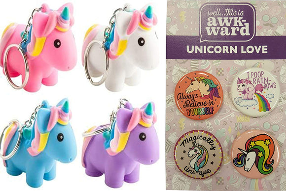 Squeeze And Poop Glittered Poop Mini Unicorn Keychain By Animolds Pink, Blue, Purple & White And Unicorn Button Set Party Bundle -
