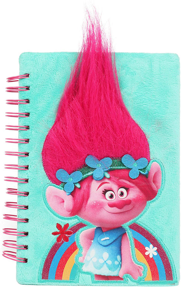 Upd Fun89 Universal Trolls Poppy Pink 3D Journal With Hair For Girls, Multicolor