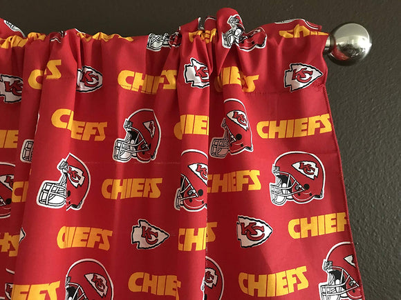 Zen Creative Designs 100% Cotton Nfl Sports Team Kansas City Chiefs Red Multi-Print Window Valance Panel/Kids Nursery Window Treatment Decor (18