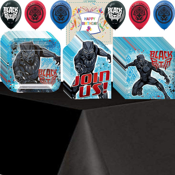 Amscan, Amazing Celebration Black Panther Birthday Supplies - Variety Assortment Party Pack Bundle Of Plates, Napkins, Table Cover And Birthday Tattoo For 16 Guests