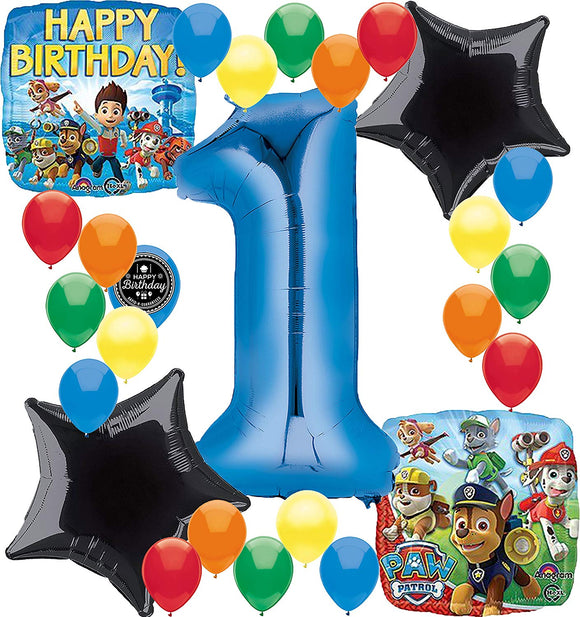 Combined Brands Paw Patrol Birthday Party Supplies Number Balloon Decoration Bundle For (1St Birthday)