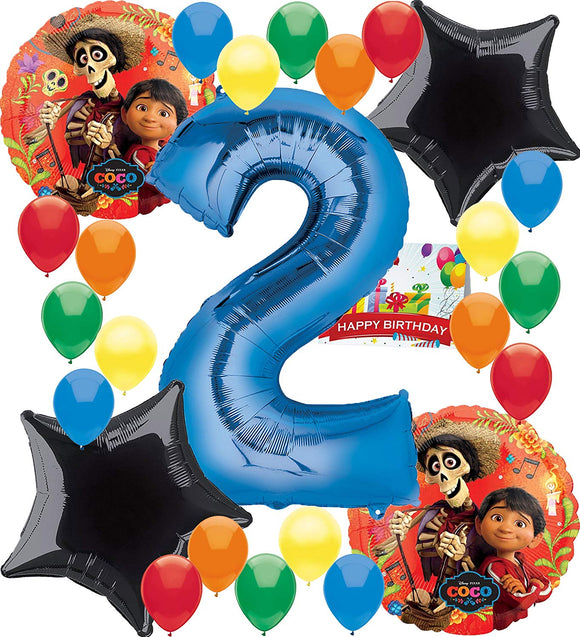 Coco Birthday Party Supplies Number Balloon Decoration Bundle (2Nd Birthday)