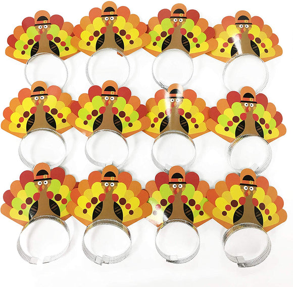 12Pcs Thanksgiving Turkey Headband For Festival Party Supplies, Thanksgiving Decorations Kit