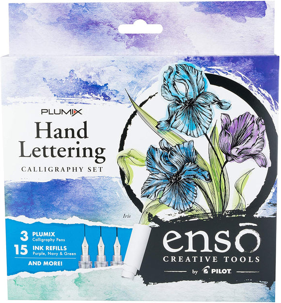 Pilot Enso Plumix Hand Lettering Calligraphy Set, Iris - Amazon Exclusive Kit!; Artful Writing Collection; 3 Finely Crafted Nib Sizes: (Fine .44Mm, Medium .58Mm, Broad .7Mm); (10687)