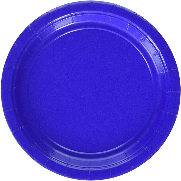 Amscan Round Bright Royal Blue Paper Plates | Party Tableware, 120 Ct.