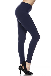 Brushed Solid Ankle Legging - Navy