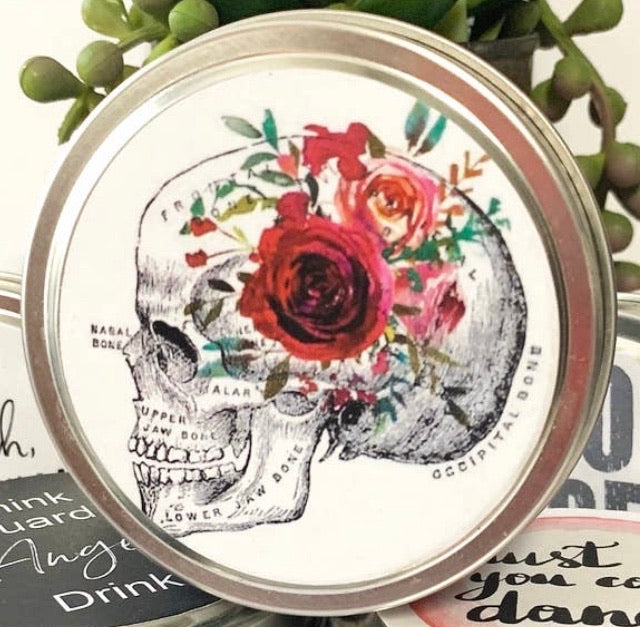 Vintage Boho Skull Travel Tin Candle - Sweet Tabacco