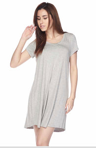 Solid Modal Rounded Tunic Dress - Heather Grey
