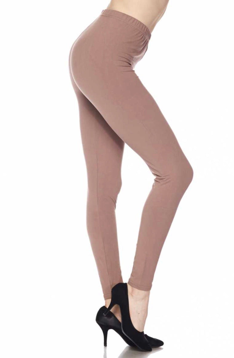 Brushed Solid Ankle Leggings - Mocha