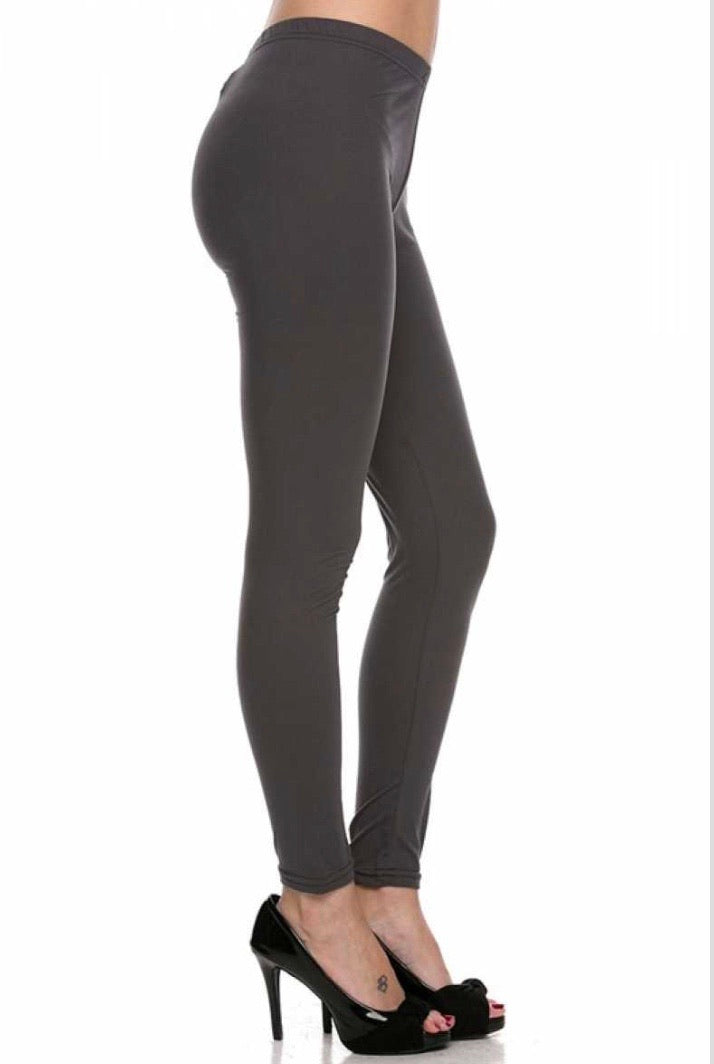 Brushed Solid Ankle Legging - Charcoal