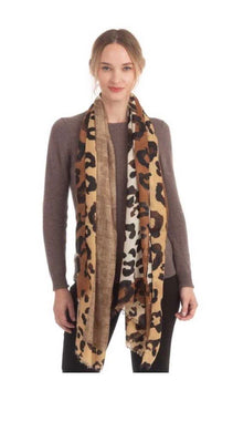 Solid/Leopard Scarf