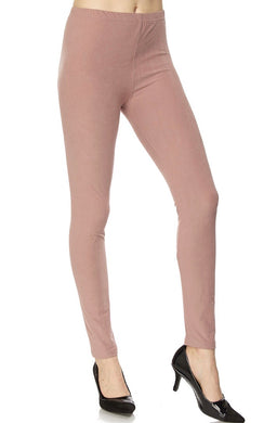 Brushed Solid Ankle Leggings - Mauve