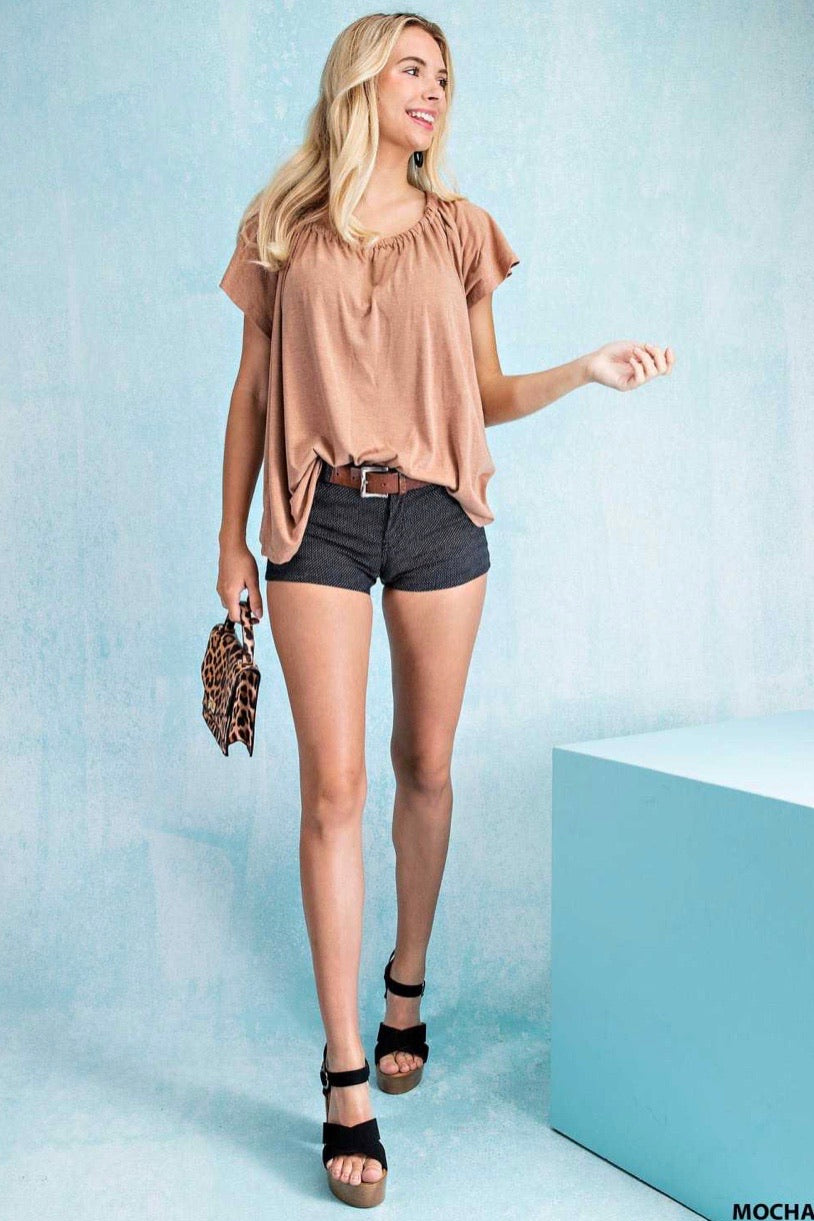 Double Cold Shoulder Back Ribbon Tie - Mocha