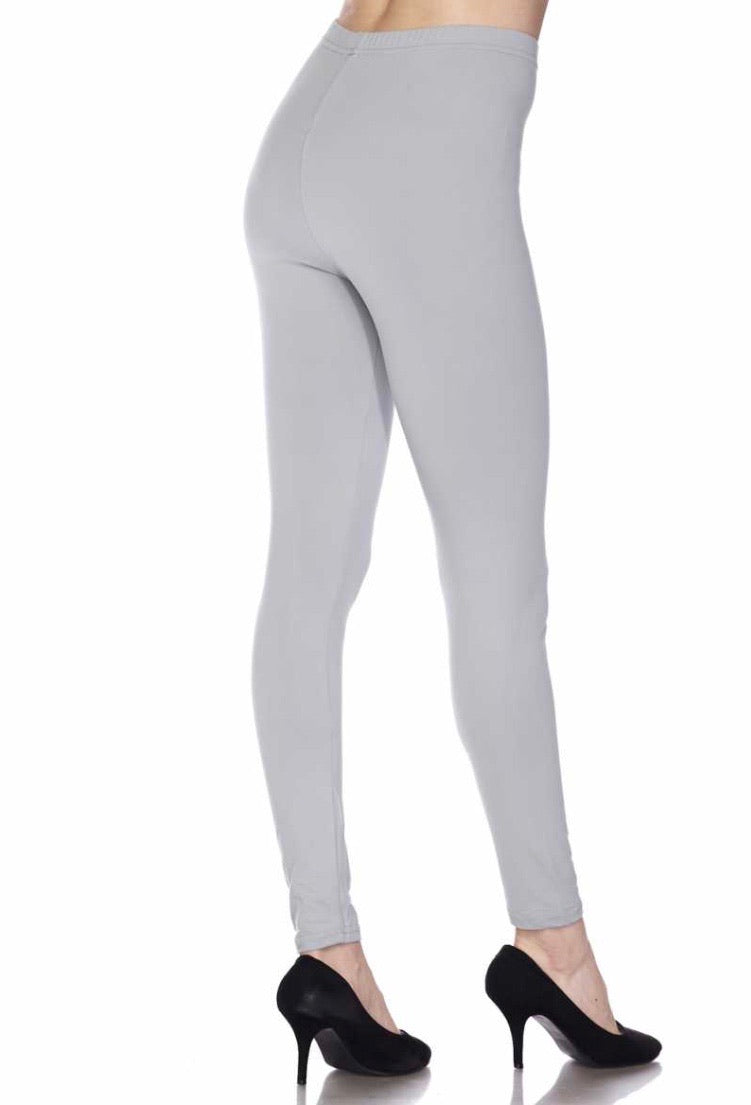 Brushed Solid Ankle Legging - Grey