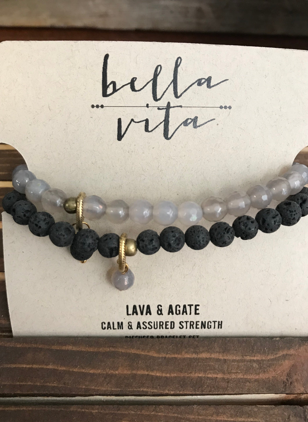 Diffuser Bracelet Set: Lava and Agate - Grace on Broadway