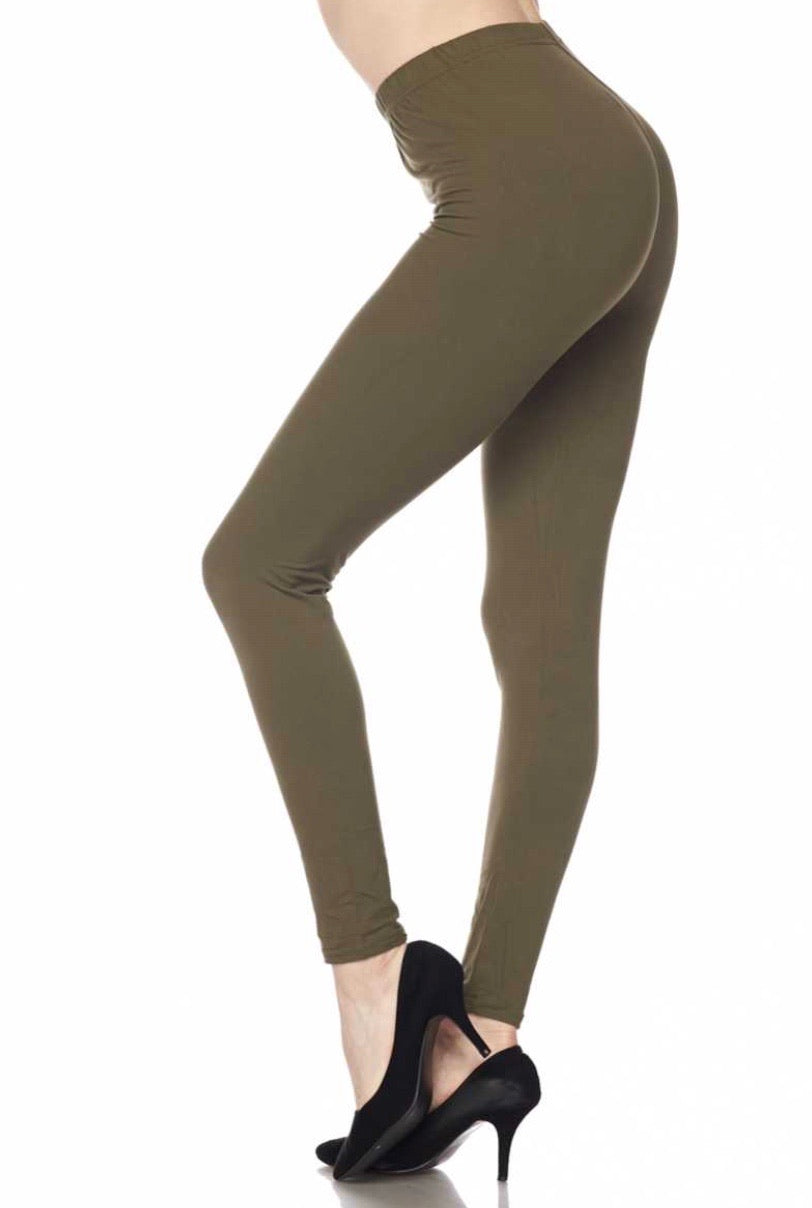 Brushed Solid Ankle Leggings - Olive