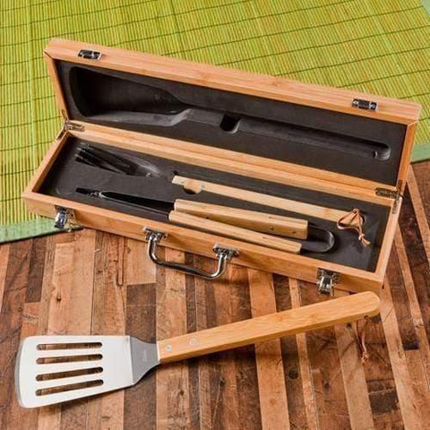 Personalized Bamboo Grill Set - 7 Design Options