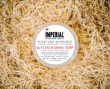 Cleanse face with Imperial Glycerin Face/Shave Soap.