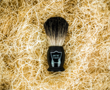 Lather the Imperial Glycerin Face/Shave Soap with the Parker Black Badger Brush (with ebony handle) and massage into moist beard.