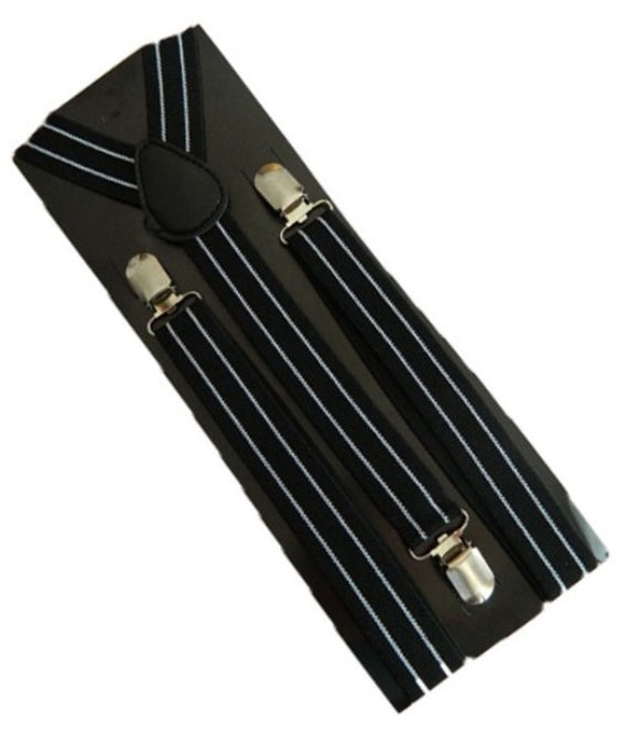 Black with White Striped Braces | Black with White Striped Suspenders