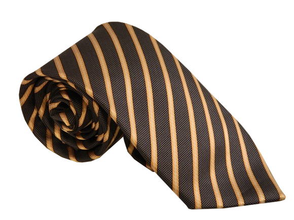 Brown Necktie | Striped Necktie | Silk Necktie