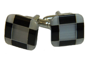 Black and Grey Square Silver Coloured Cufflinks