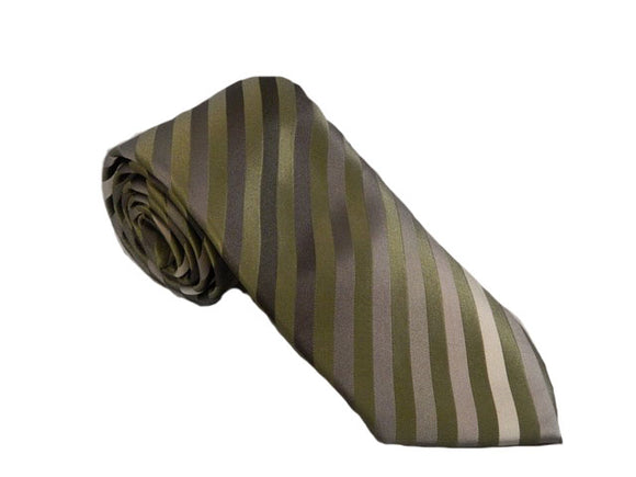 Green Stripe Tie | Grey Stripe Necktie | Striped Tie