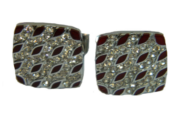 Red Leaf Silver Coloured Cufflinks