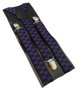 Purple Braces | Purple Suspenders | Black Check Braces