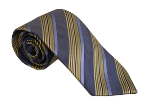 Blue Stripe Necktie | Green Silk Tie