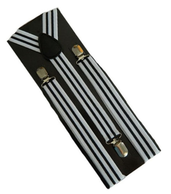White and Black Striped Braces | White and Black Striped Suspenders