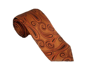 Orange Paisley Tie | Mens Ties | Silk Ties | Silk Neckties | Brown Paisley Tie