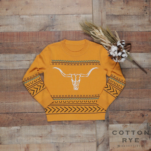 Womens Sweater Mustard Steer