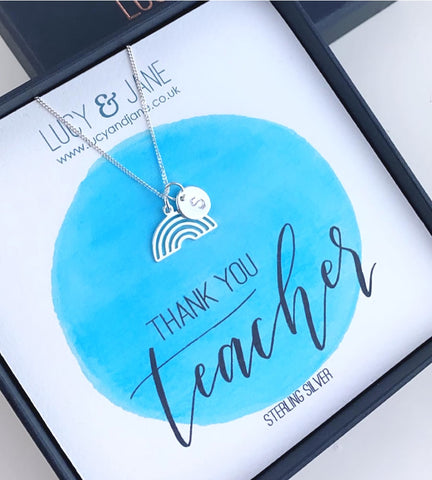 Sterling silver rainbow necklace thank you teacher gift