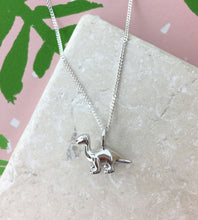 Load image into Gallery viewer, Mini Sterling Silver Diplodocus Dinosaur Necklace
