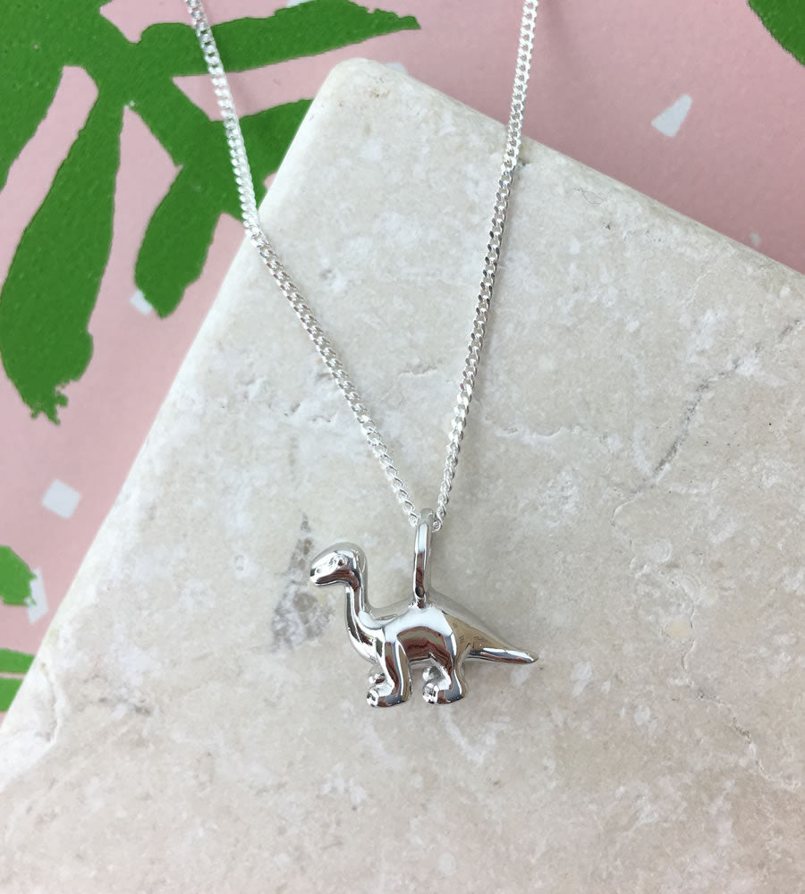 Mini Sterling Silver Diplodocus Dinosaur Necklace