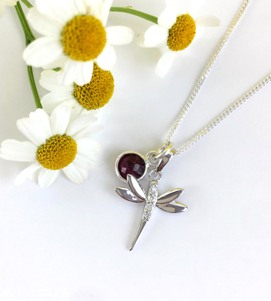 Sterling Silver Birthstone And Dragonfly Necklace