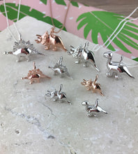 Load image into Gallery viewer, Mini Rose Gold Triceratops Dinosaur Necklace