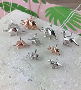 Mini Rose Gold Triceratops Dinosaur Necklace