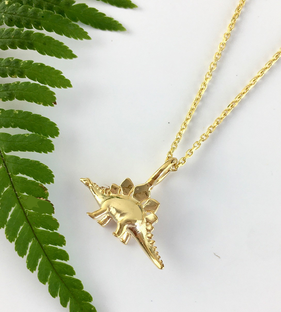 Mini Gold Stegosaurus Dinosaur Necklace