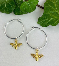 Load image into Gallery viewer, Gold Bee And Sterling Silver Hoop Earrings
