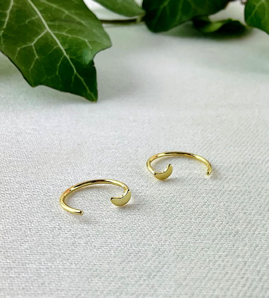 Gold Moon Pull Through Earrings