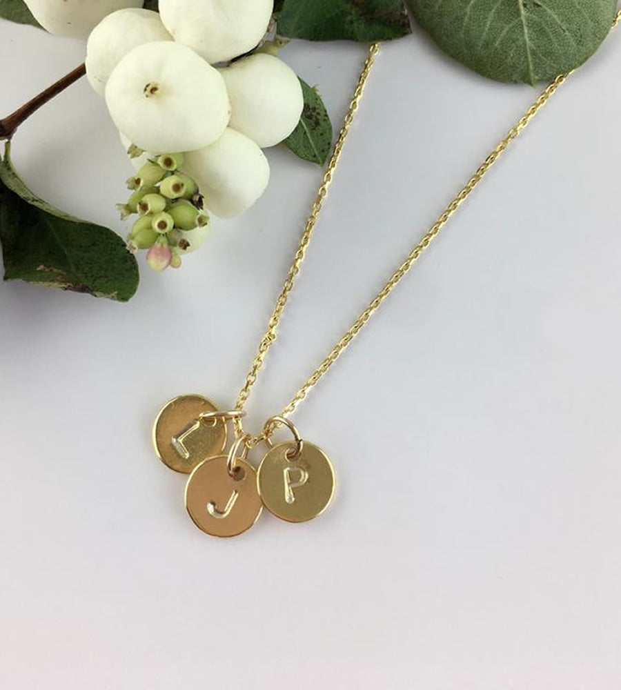 Gold Personalised Triple Disc Necklace