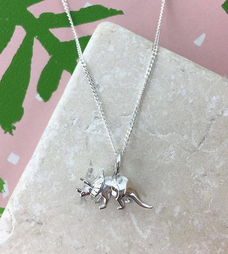 Mini Sterling Silver Triceratops Dinosaur Necklace